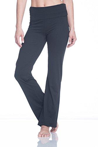 Gaiam Women's Om Nova High Waist Pant Foldover Waistband Bootcut Yoga Pants - Black Tap Shoe, X-Small