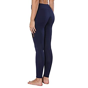 Yoga Pants, Feivo Women's Power Flex Yoga Pants Tummy Control Workout Yoga Capris Pants Leggings,mesh-deep Blue,large 3