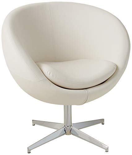 Best Selling Modern Leather Round Back Chair, White (For Small Sale Leather Armchairs)
