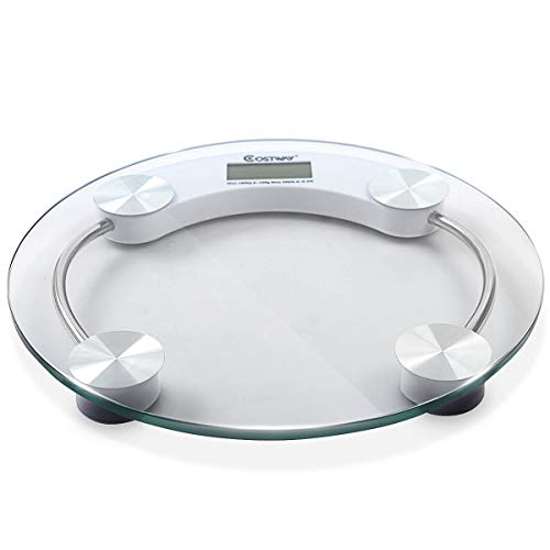 Giantex Digital Personal Bathroom Body Glass Weight Heath Fitness LCD Scale 400LB 180kG Round