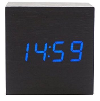 sdber® Fashion Cube Mini Black Wood Grain Blue LED Light Alarm Clock with Time and Temperature Display & Sound Control