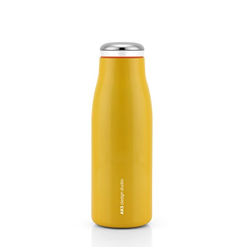 AKS Vacuum Insulated Water Bottle, Double Wall Stainless Steel Travel Mug (12oz, Yellow)
