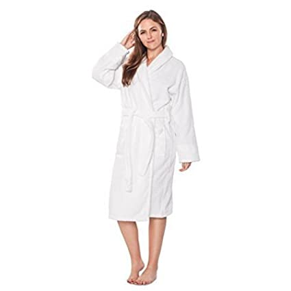 0958cce8dc Image Unavailable. Image not available for. Color  100% Turkish Cotton  Unisex Bathrobe Made in Turkey - White - One Size