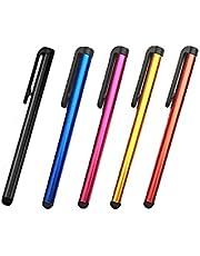 قلم رفيع عالمي متوافق مع جميع الأجهزة مع شاشة لمس سعوية، 5 أقلام متعددة الألوان (C1)