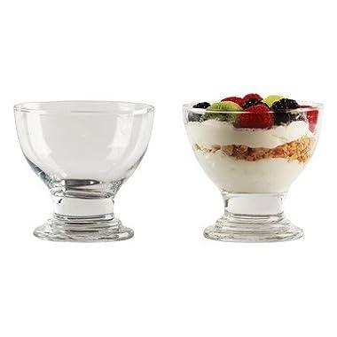 Circleware Flavor Glass Ice Cream Dessert Dish Bowl , Set of 4, 6 Ounce Each, Limited Edition Glassware Serveware