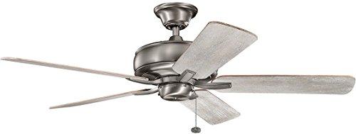 - KICHLER 330247BAP Protruding Mount, 5 Dark Cherry Blades Ceiling fan, Burnished Antique Pewter