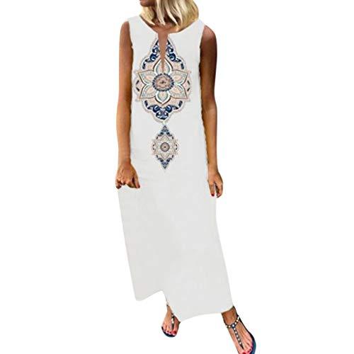 iBOXO Retro Ethnic Style Print Maxi Dress Holiday Bohemian Sleeveless V-Neck Beach Casual -