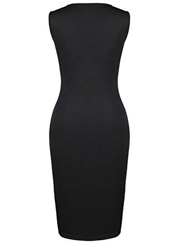 PAKULA Women's Fashion Splicing O Neck Pencil Midi Bodycon Dress