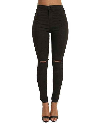 Lunghi Vita Donna Elastico Skinny Pantaloni Slim Zhuikuna Jeans Strappati Nero Casuale Alta Fit xEqdYSww