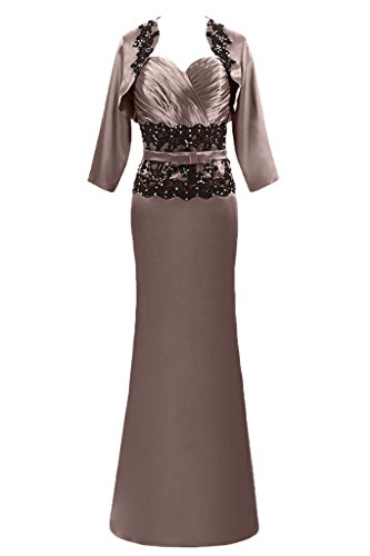 Avril Robe Mère Gracieuse De L'empire Robe De Mariée Avec Dentelle Veste Brune Robe Longue