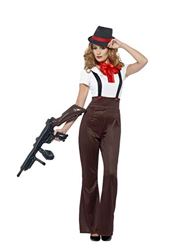 Smiffys Women's Glam Gangster Costume, Top, pants, Mock
