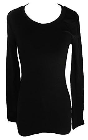 Long Sleeve Crewneck Tee T Shirt Cotton (Small, Black)