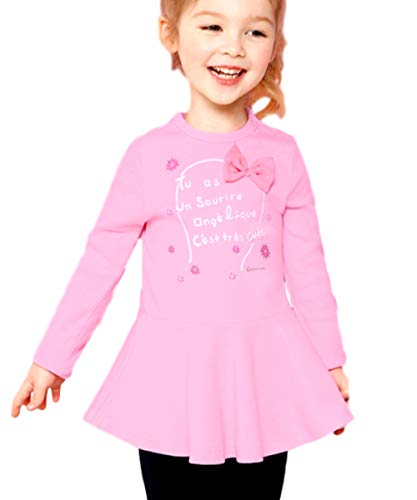 CuteMe Toddler Baby Girls Clothes Set Cute Star Print Long Sleeveand and Pants 2 Pieces Outfits (115,Pink,110)