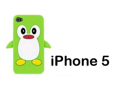 iXium Vert 3D mignon pingouin avec jouet animal Skin Coque de protection en gel silicone souple pour Apple iPhone 5
