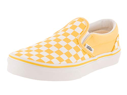 Vans Kids K Clasic Slip ON Checkerboard Aspen Gold White Size -