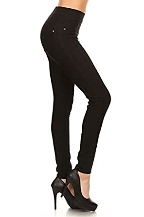 Leggings Depot Premium Quality Jeggings Regular and Plus Soft Cotton Blend Stretch Jean Leggings Pants w/Pockets (One Size (Size 0-12), Black)