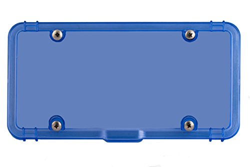 Luxe Shield Blue License Plate Cover with Drain - Made in USA - Premium Quality 100% Recycled Industrial-Strength Polycarbonate License Plate Bubble Shield incl 4 Stainless Screws (One License Cover)