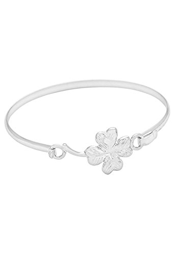 Rosemarie Collections Women's St. Patrick's Day Lucky 4 Leaf Clover Thin Bangle Bracelet (Silver Tone) (4 Leaf Clover Bracelet)