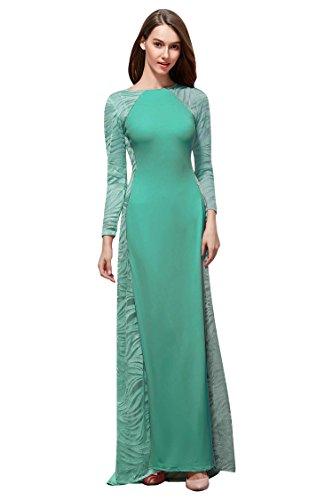 Beauty Langarm Ausschnitt Maxi Emily Abendkleid Spitze Linie O Grün Transparent qB4rqX
