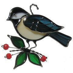 Used, Standing Chickadee Stained Glass Suncatcher for sale  Delivered anywhere in USA