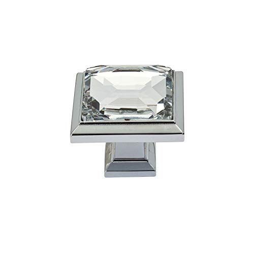 (Atlas Homewares 340-CH Legacy Crystal Square Knob, Polished Chrome)