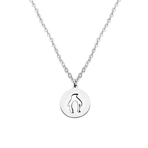 FEELMEM Penguin Necklace Round Disc Cutout Penguin Pendant Necklace Bridesmaid Gift (Silver) by FEELMEM