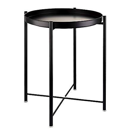 EKNITEY End Table,Folding Metal Side Table Waterproof...