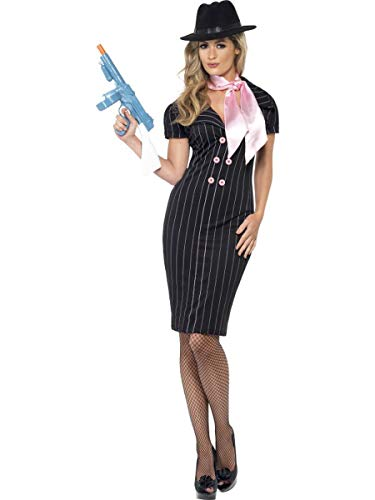 2 PC Gangster Mob Wife Pinstripe Pencil Black Dress & Pink Scarf Party Costume -
