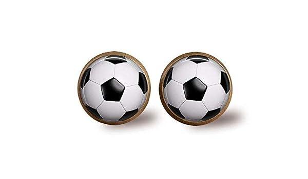 Pendientes de bola de fútbol antiguos, cristal cúpula arte, balón ...