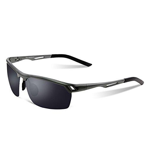 Duco Herren Sport Stil Polarisierten Sonnenbrille Metallrahmen Brillen 8550, Gunmetal/Grau