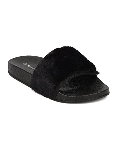 Alrisco Femme Slip Sur Sandale Plate - Diapositives Poilues - Sandale De Lit Plantaire Floue - Hb04 Par Nature Breeze Collection Noir Fausse Fourrure