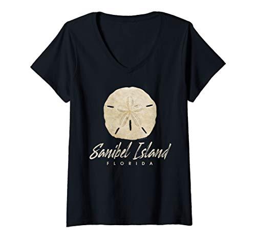Womens Sanibel Island Florida Gift Shelling Sand Dollar V-Neck T-Shirt
