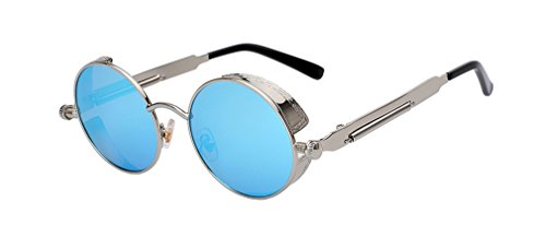 Umbra Vase (Dotpoter Round Metal Sunglasses Steampunk Men Women Retro Sunglasses UV400 Silver w blue mir)