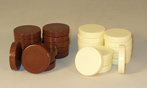 Worldwise Imports Brown and Ivory Backgammon Pieces, 1.5in