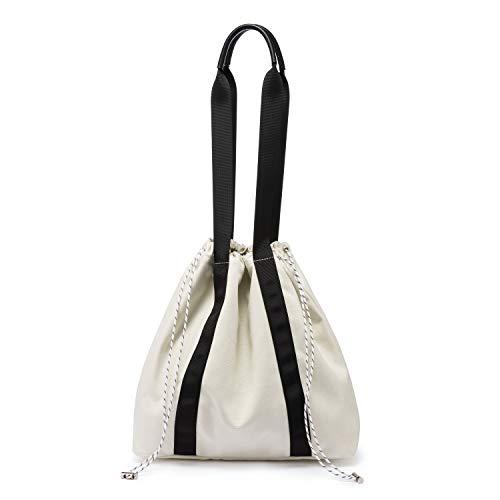 LOVEVOOK Canvas Shopper Damen Handtasche Schultertasche Umhängetasche Einkaufen Arbeiten Schule Reisetasche PU-Griff Schrumpfseil Henkeltasche Cremeweiß