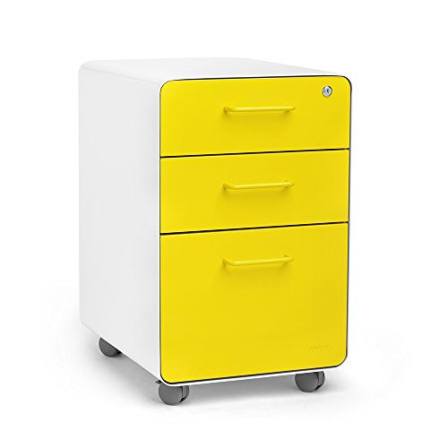 Poppin White + Yellow Stow Rolling 3-Drawer File Cabinet, Available in 10 Colors, Legal/Letter