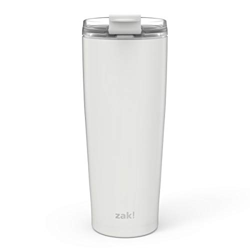 (Zak Designs Aberdeen Stainless Steel Double Wall Vacuum Insulated Tumbler with Leak Proof Flip Lid that Locks in Place, and Fits in Most Car Cup Holders (30oz, Gray, 18/8, BPA Free))