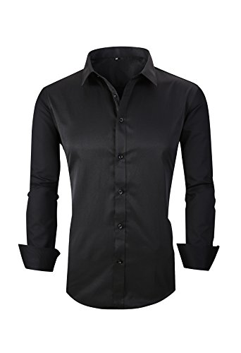 JZOEOEU Men's Casual Cotton Button Down Shirt Slim Fit Point Collar Dress Shirts Black US Large (Tag Asian 4XL)