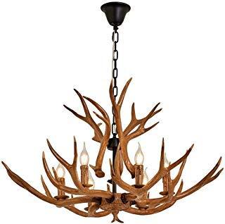 Resin Antler Chandelier, Deer Horn 6 Light Vintage Style Ceiling Light American Rural Countryside Antler Chandeliers for Living room,Bar,Cafe, Dining room,8688