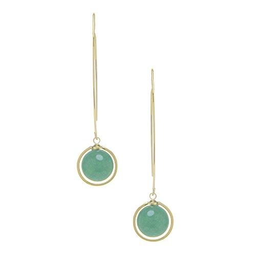 Rivka Friedman 18K Gold Clad Green Aventurine Round Drop Polished Threader Hook Earrings