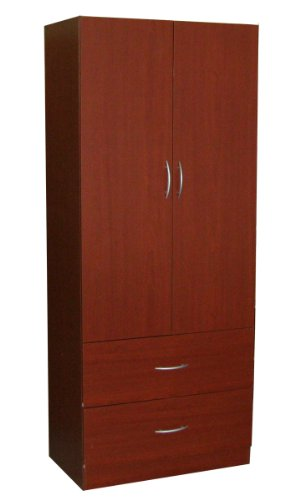 Home Source Industries RL12203 Wardrobe with 2-Door and 2-Drawer, Mahogany