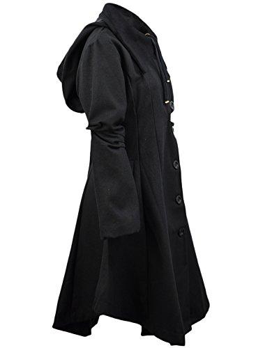 en ACHICGIRL Dobladillo Mujer Verde Asimétrico Abrigo Cordones Cuello Oscuro Largo 4ROYwqRr