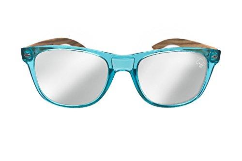 Transparent Blue Zebra (Tuff Sunglasses Kokkola Wayfarer Light Blue Transparent New Zebra Wood Sunglasses Polarized Silver Mirror lenses)