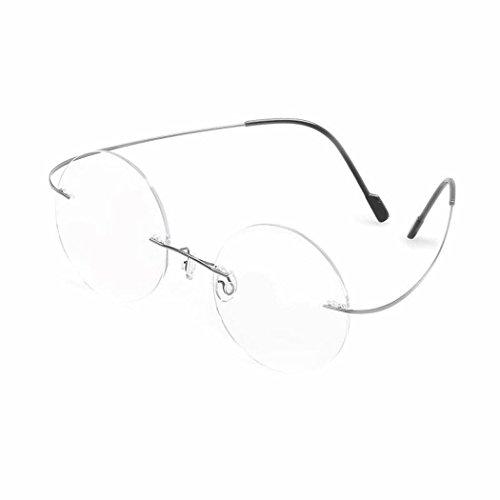 a3c5522bb8 SUMDA 46mm Vintage Rimless Round Glasses eyeglass Frame RX (silver
