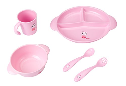 MADE FROM CORN 5-Piece Toddler Meal Set - Reusable 100's of Times - BPA-free - Dishwasher-safe - Includes 3-Section Portion Plate, Bowl, Cup, Fork and Spoon - Pink (Bpa Free Corn compare prices)