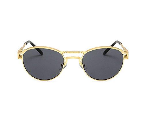 féminine de masculine de rétro Lunettes et polarisées non Hellomiko punk personnalité lunettes Or Gris soleil 5nv7xw4q4H