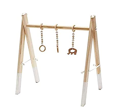 Handmade Wooden Baby Play Gym Sensory Activities Wooden Toy for Baby Marbeine Wooden Baby Gym 3PCS Pendants Random Style Black