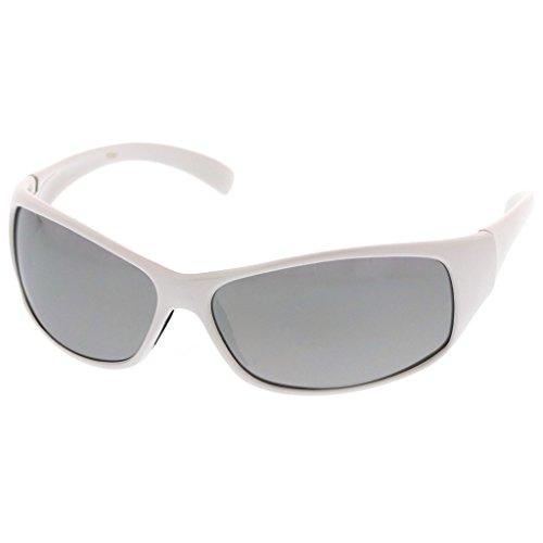 MLC Eyewear Ultra Light Weight Full Frame Sport Sunglasses Model:851 White White - White Wrap Around Sunglasses