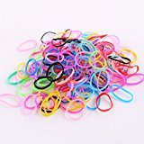 Multi Candy Color Baby Girl's Kids Hair Holder Hair Tie Elastic Rubber Bands (500pcs, Big Circle Black)