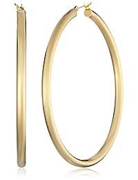"""14k Gold-Bonded Sterling Silver Polished Hoop Earrings, (2"""" Diameter)"""